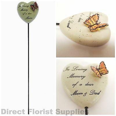 Heart On A Stick With Butterfly Detail Grave Side Tribute Spike Asst. Relatives