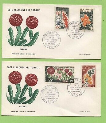 French Somalia 1966 Flowers on two First Day Covers