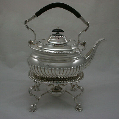 Antique Silver Tea Kettle with Stand & Burner Victorian 1897