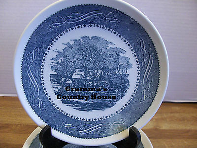 "6 Vintage Taylor Smith Taylor Currier & Ives Blue Mill 6¾"" Bread Dessert Plates"