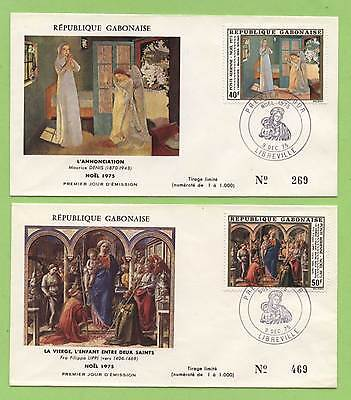 Gabon 1975 Christmas Paintings on two First Day Covers