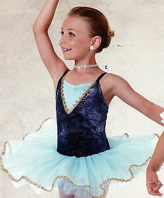 NWT Ballet costume gold Sky blue attached tutu graduated 4 layer Child sizes