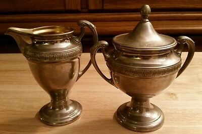 Vintage Manning-Bowman Means Best MB Silver on Brass Cream & Sugar Bowls coffee