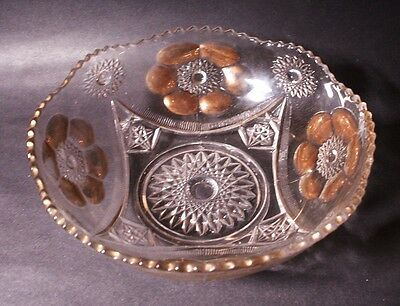 """Gorgeous Antique McKee ~SEXTEC~ Gold Trimmed Large 8"""" Round Berry SERVING BOWL !"""