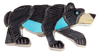 Zuni Native American Turquoise and Jet Bear Pin and Pendant SKU#228452