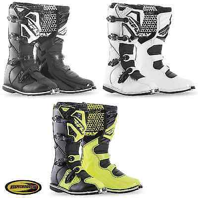 2016 Fly Racing Maverick Boots Mx Atv Motocross Off Road Motorcycle Black White