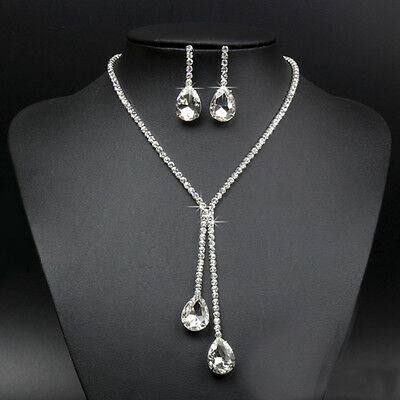 Wedding Bridal Prom Rhinestone Crystal Drop Necklace Earring Plated Jewelry Set
