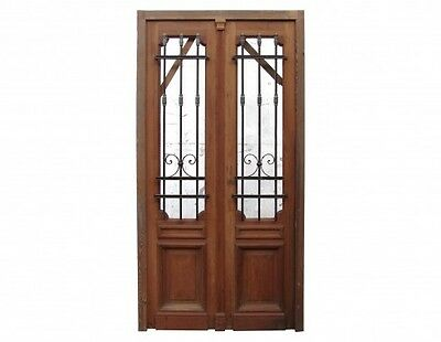 Antique Double Entrance door Wrought Iron Inserts 1596