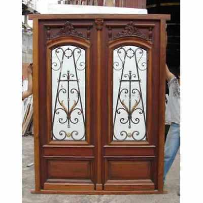 Amazing Double wood Entry Door Hand carved with insulate glasses B1191