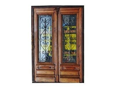 Double Entry Front door with Wrought iron inserts B1427e