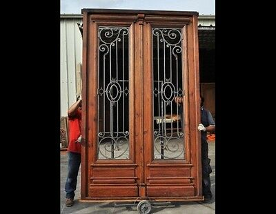 Antique and restored Double Entry Door with Wrought iron inserts B1445