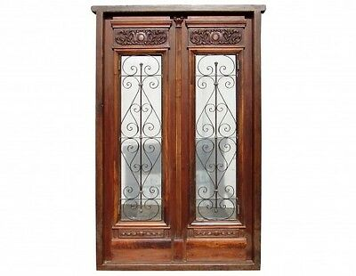 Wooden Double Front Door with wrought iron inserts B1308