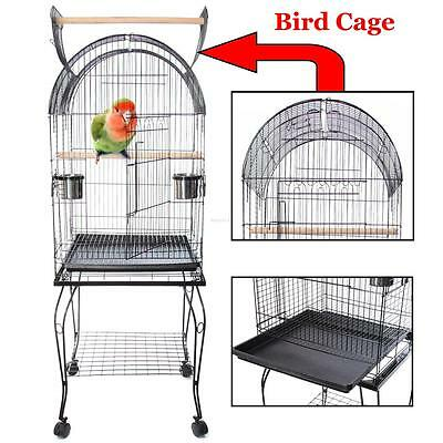 Large Bird Cage Parrot Canary Budgie Metal Cage Aviary With Wheel 52x52x150CM