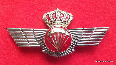 Spain Spanish,Airborne Jump Jumper Para Wings,Parachute Skydiving Pin,Gold Crown