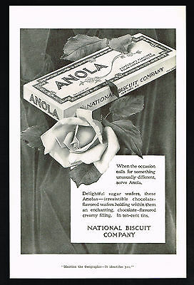 1916 NBC National Biscuit Company Anola Sugar Wafer Cookies Vintage Print Ad