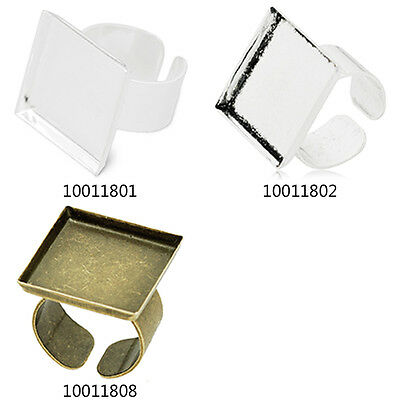 10Pcs 20*20MM Square Shallow Bezel Adjustable Ring Blank Base Ring Findings