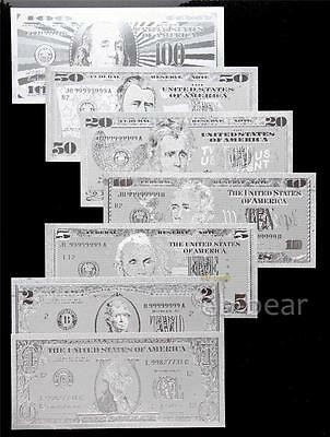 Lots 7 Pcs US dollar Silver Banknote Crafts Full Set Unusual Beautifully