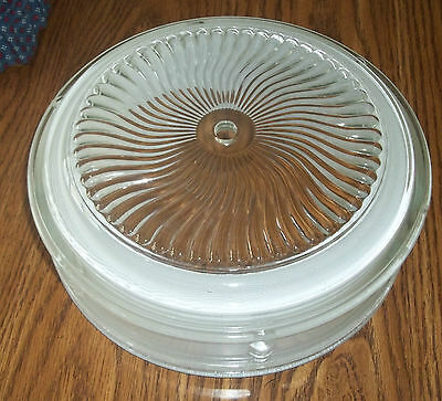 "VINTAGE GLASS SHADE CEILING LIGHT FIXTURE~10-1/4"" round~EC"