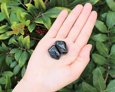 2 Small / Medium Black Tourmaline Tumbled Stone Crystal Healing Tumble Gemstone