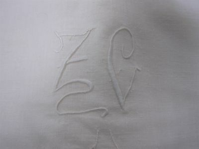 """ANTIQUE HEAVY PURE LINEN BED SHEET w EMBROIDERED MONOGRAM """"ZC"""" 87""""x 112"""""""