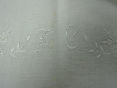 "ANTIQUE WHITE HEAVY LINEN BED SHEET w EMBROIDERED FLOWER MONOGRAM ""ZC"" 90""x 108"""