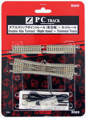 Rokuhan R069 Double Slip Turnout (Right Hand) & Trimmed Track (1/220 Z Scale)