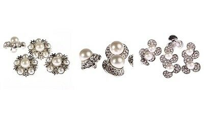 10 x Pearl Diamante Silver Crystal Flower Buttons Diamante Rhinestone