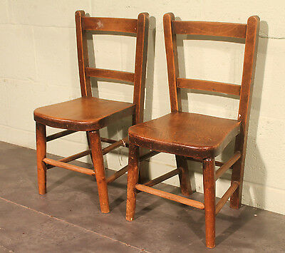 Reclaimed Victorian Elm Wooden Childrens Chairs - 3 Available