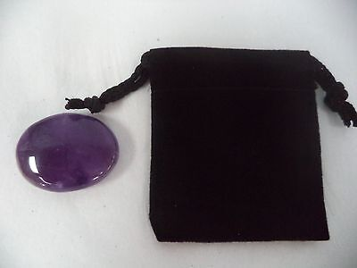 Amethyst Pocket Palm Stone with Drawstring Pouch (Smooth Worry Stone)