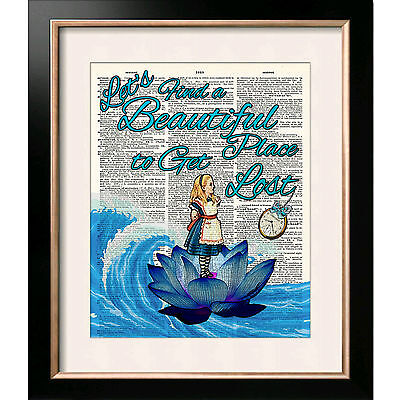 ART PRINT ON ORIGINAL ANTIQUE BOOK PAGE Traveller Alice in Wonderland Dictionary