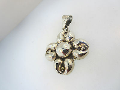 FABULOUS CII 925 STERLING SILVER MEXICO PUFFED 3-D FLOWER PENDANT 16.7g