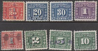 Canada 3-Leaf Excise Revenues used hi val selection 8 diff 1934-48 cv $25.25