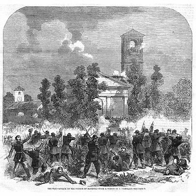 War in ITALY Attack on the Church of Magenta - Antique Print 1859