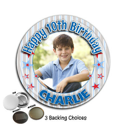 Personalised 75mm Happy Birthday PHOTO Badge N54 Any Age - Pin Magnet Mirror