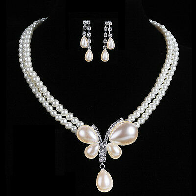 new fashion Wedding/bridal Pearl crystal Necklace Earring Set butterfly silver