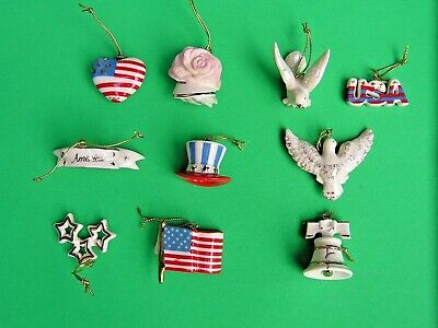 LENOX TREE OF INDEPENDENCE 10 PATRIOTIC miniature Tree Ornaments set NEW in BOX
