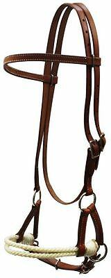 Western Or English Saddle Horse Brown Leather Bitless Headstall Bridle Side Pull