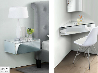 My-Furniture Inga mirrored floating bedside table console - shelf-storage system