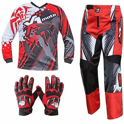 RED YOUTH KIDS MX JERSEY PANTS GLOVES Dirt Bike Gear Off road Motocross Junior