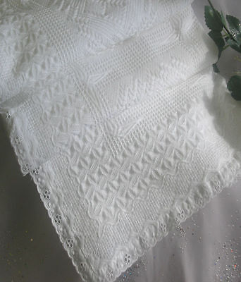 100% White Cotton Shawl Broderie Anglaise Trim Christening Swaddling Blanket New