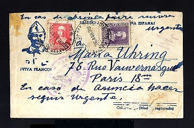 2657-SPAIN-ESPAÑA-MILITARY CENSOR COVER MADRID to FRANCE.1939.WWII.CIVIL WAR.Fra