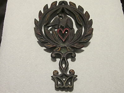 "CAST IRON TRIVET WILTON 8 1/2"" BY 5 1/2"" BLACK WITH RED HEART"