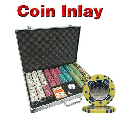650Pc 12G Monte Carlo Coin Inlay Poker Chips Set With Aluminum Case