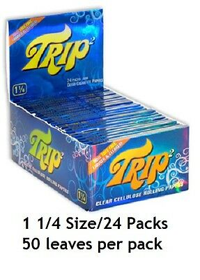 BOX 24 packs TRIP 2 CLEAR CELLULOSE 1 1/4 cigarette rolling papers/50 count pack