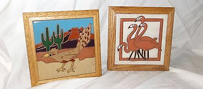2 SIEGEL ARTS Pottery HAND PAINTED Tiles - Wall hanging Or Trivets Flamingo+