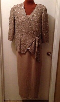 Chadwick's Gold Beaded Formal Mother Of The Bride Dress Sz 12 Cruise Party