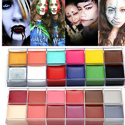 12 Colors Face Body DIY Painting Oil Art Make Up Set Kit