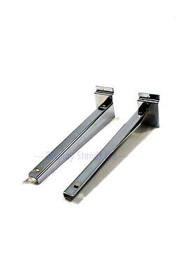 "Slatwall Wood Shelf Metal Bracket 200mm/ 8"" Pair Heavy Duty Chrome Slat Wall J95"