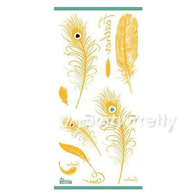 Waterproof Temporary Gold Peacock Feathers Golden Tattoo Stickers Body Art Decal