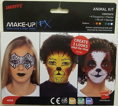 Smiffys FX Fancy Dress Make Up Face Paint 8 Cols Kids Animals Kit New in Pack